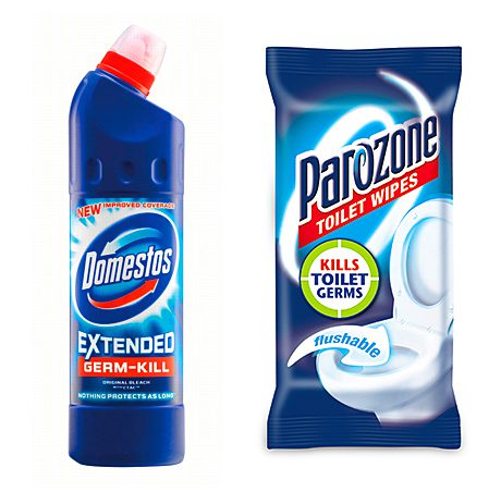 Domestos has added a new longer-lasting variety, Extended Germ Kill, to its core toilet cleaning and bleach range. Competitior Parazone has created flushable toilet cleaning wipes for its toilet hygiene range.