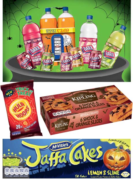 AG Barr is bringing back its Halloween-themed drinks packs, which it says saw sales worth £1.3m in 2012, while McVitie's reintroduces Lemon and Slime Jaffa Cakes and brings in new seasonally shaped mini digestives. Premier Foods has produced a new Mr Kipling cake line, while revamping the packaging for other lines. And KP Snacks' Hula Hoops will come in fun-sized bags for the occasion.