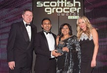 Shaun's Premier Store, Cardonald in Glasgow receives the Best Soft Drinks Outlet of the Year Award at the Scottish Grocer Awards 2013 dinner earlier this year.