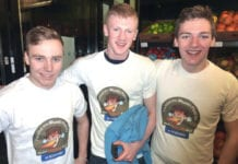 Been there, ate it, got the T-shirt! Three gentlemen in Scotmid show they're hot stuff after each devouring a Stuart's Fiery Pie.