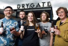 Marking September's Craft Beer Rising, left to right: Matt Johnson, Pilot Brewery, Leith; Pat Jones, also Pilot; Alessandra Confessore, Drygate Brewing Co, Glasgow; Graeme Martin, Tempest Brew Co, Kelso; Peter Stuart, Thistly Cross Cider, Dunbar.