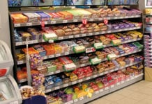 Confectionery on shelves