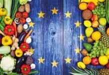 eu flag with fruit and vegetables