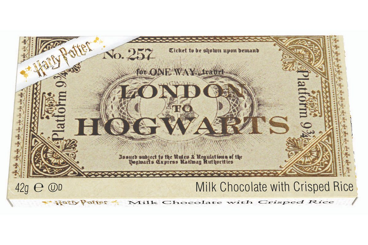 Hogwarts Express ticket (made with milk chocolate and crisped rice)
