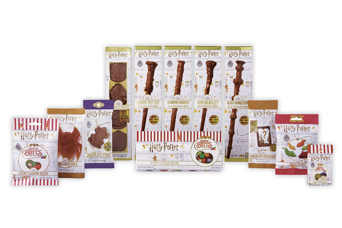 The Harry Potter sweets range includes chocolate wands, gummy sweets and gift boxes.