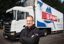 Man In Front Of Spar truck