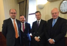 (From left) David Lonsdale, Stuart Mackinnon, finance secretary Derek Mackay and Willie Macleod.