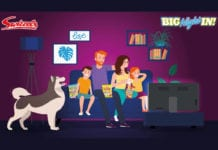 purple advert, family and dog