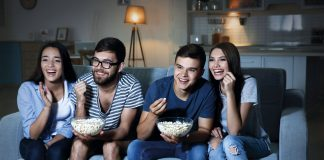 couples eating popcorn