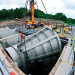 Installing a giant Hydro-Brake for the Wigan Flood Alleviation Scheme.