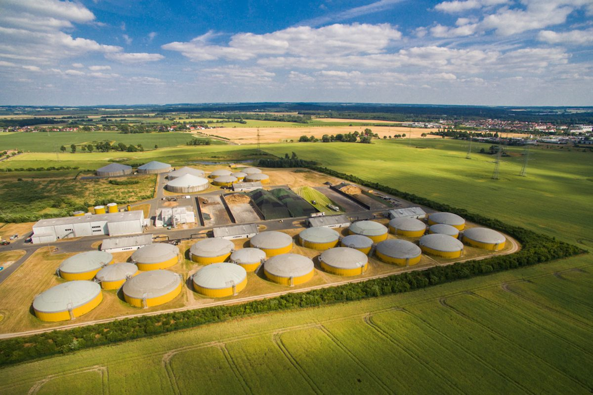 aerial view of biogas plant in Germany