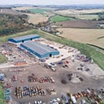 warehouse among fields, large car park