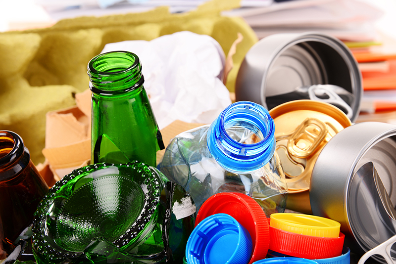 empty drinks cans and bottles