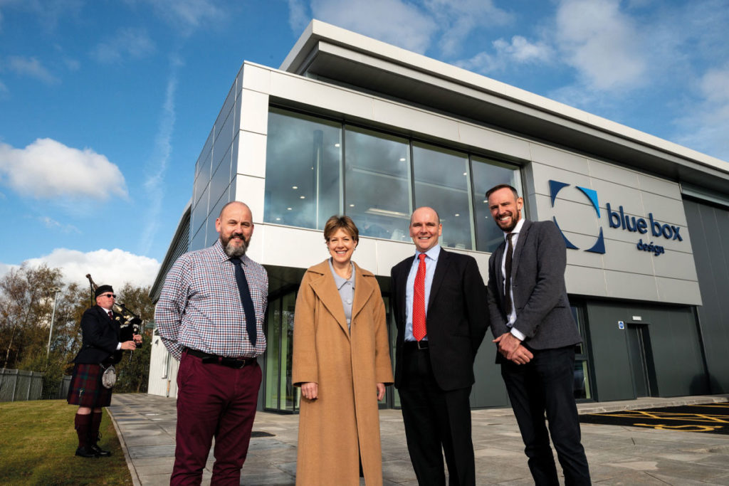 Blue box design opening, MD-Gordon-Duncan, Scottish Whisky Association CEO Karen Betts, Donald & Michael McLaren, Directors of McLaren Packaging