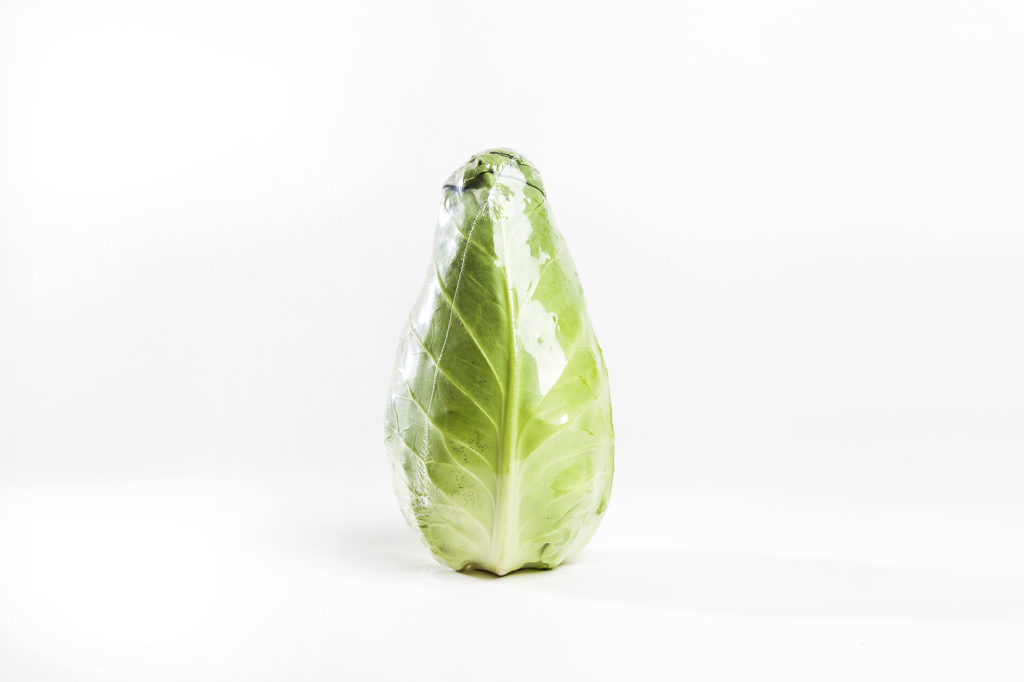 A lettuce wrapped in YPS' B-NAT film
