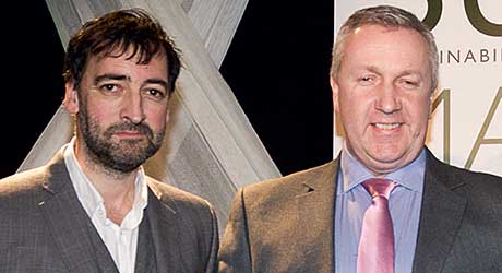 Award host, impressionist Alistair McGowan (left) with Structherm national sales manager Brian Monaghan at the awards ceremony and the winning project.