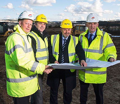 Let's get started: (from left) Graeme Hay of Kingseat Development 3, Kevin Morrison and Kenny Dey of Archer and Mike Keith, Morrison's finance director in Scotland.