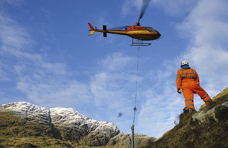 Difficult terrain meant that barrier installation, handled by specialist contractor Geo-rope, was undertaken with the help of a helicopter.