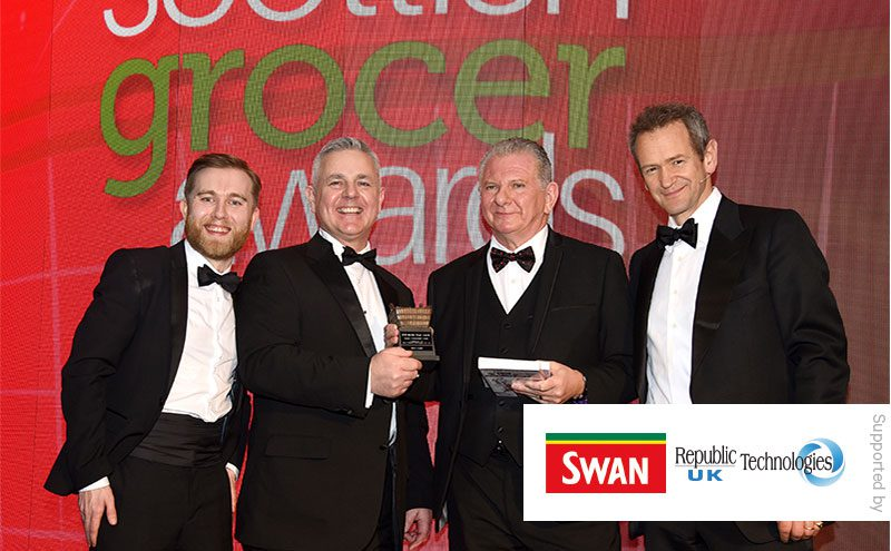 (From left) Scottish Grocer editor Matthew Lynas, Gavin Anderson, general sales manager Republic Technologies UK, Eddie Lynagh and Alexander Armstrong.